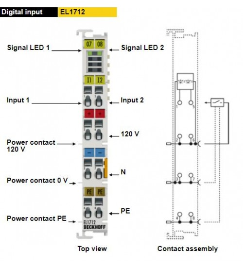 EL1712 | 2-channel digital input terminal 120 V AC/DC